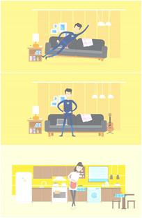 卡通新婚夫妻恩爱幸福快乐视频