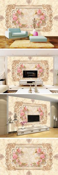 欧式大理石纹玫瑰花边背景墙