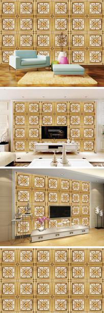 欧式金色花纹背景墙