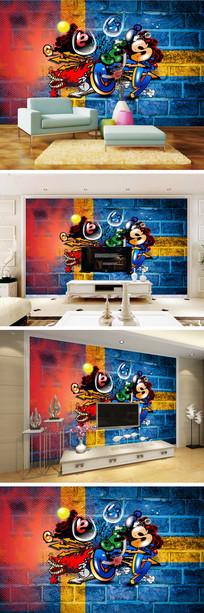 涂鸦抽象画背景墙