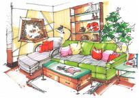 温馨的客厅手绘图