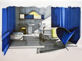 现代浴室手绘图