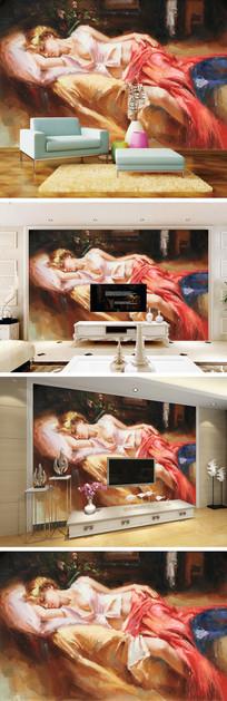 油画少女背景墙