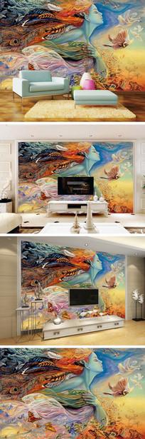 油画少女蝴蝶天鹅背景墙