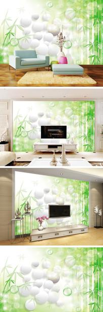 3D立体清新竹林背景墙