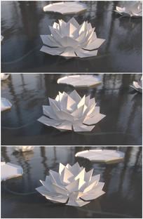 白色纸花白莲白纸做的荷花视频