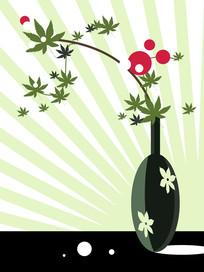 抽象花瓶鲜花装饰画