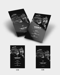 黑色竖版摄影工作室时尚名片