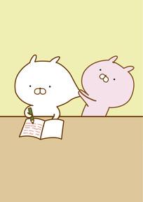 可爱的卡通小动物兔的矢量插画