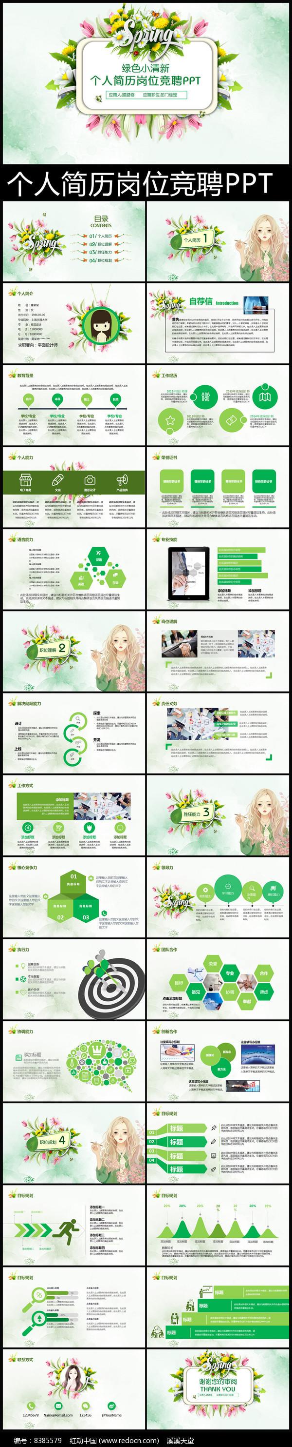 绿色清新个人求职简历PPT模板图片