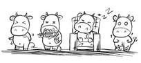 手绘线条动物卡通牛插画