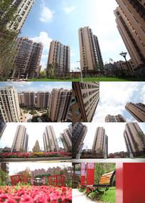 小区建筑景观花园高清实拍视频