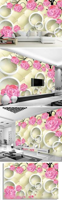 3d软包玫瑰花电视背景墙图片