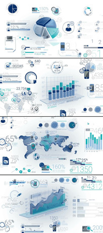 多个3d数据统计信息图表模板