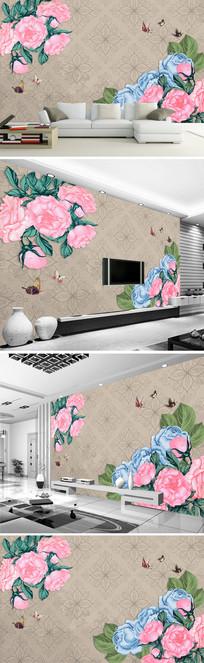 手绘玫瑰花古典中式背景墙