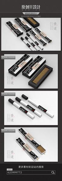 水墨中国风香盒包装设计 PSD