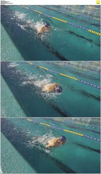 运动员游泳实拍视频素材