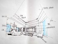 客厅手绘草图