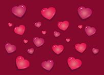 立体爱心心形矢量素材