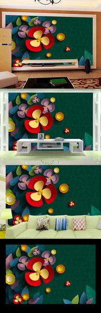 深绿蔷薇花朵背景墙