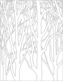 树枝黑白雕刻图案