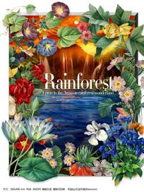 唯美手绘热带雨林花卉蝴蝶仙境背景素材