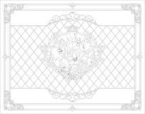玉兰欧式花纹边框雕刻图案