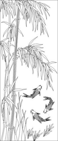 竹报平安竹子鱼雕刻图案