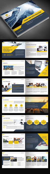 黄色横向企业画册宣传册模板