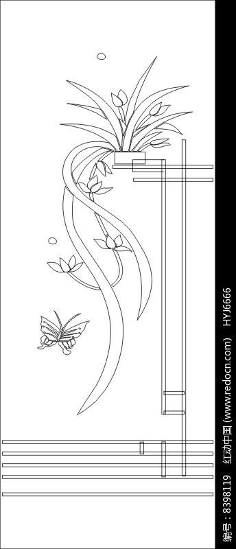 原创设计稿 装饰画/电视背景墙 雕刻图案 蝴蝶兰花雕刻图案  请您分享