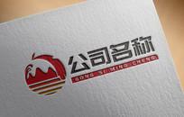 简约中国风度假区旅游logo