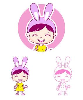 卡通女孩插画设计
