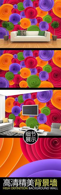 立体多彩圆圈图案电视背景墙