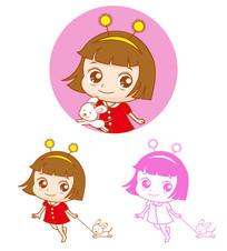 女孩牵着小狗卡通插画