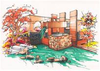 现代水景墙