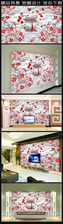 艺术爱心花纹背景墙