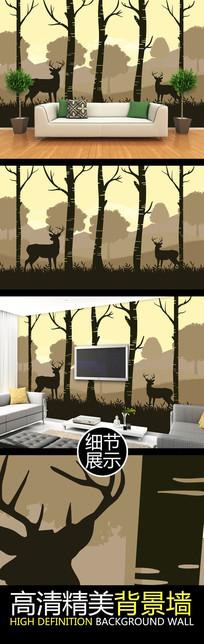 北欧森林麋鹿手绘电视背景墙