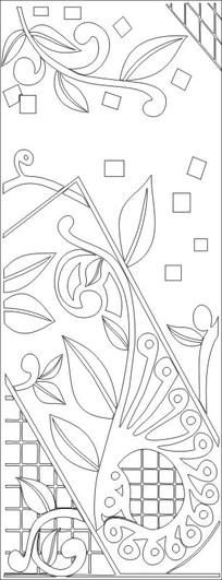 抽象花格子雕刻图案