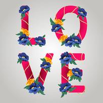 love花卉装饰英文字体设计