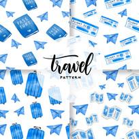 手绘清新蓝色旅游背景图案素材