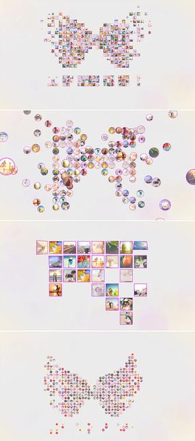 10组多照片汇聚成标志模板