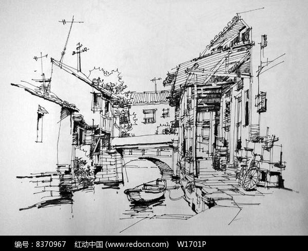 江南水乡风景速写图片