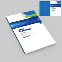 蓝色电子线路科技画册封面