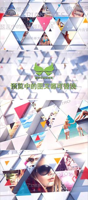 三维立体三角形图片展示模板