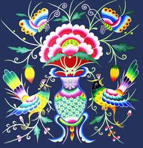 色彩浓郁对比鲜明民族苗画纹样图案