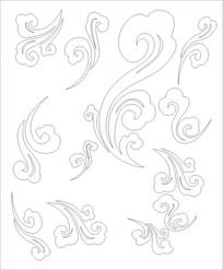 朵朵云图雕刻图案 CDR