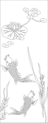 荷花鱼雕刻图案