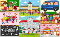 卡通手绘儿童校园生活素材