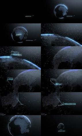 蓝色科技地球动画展示视频