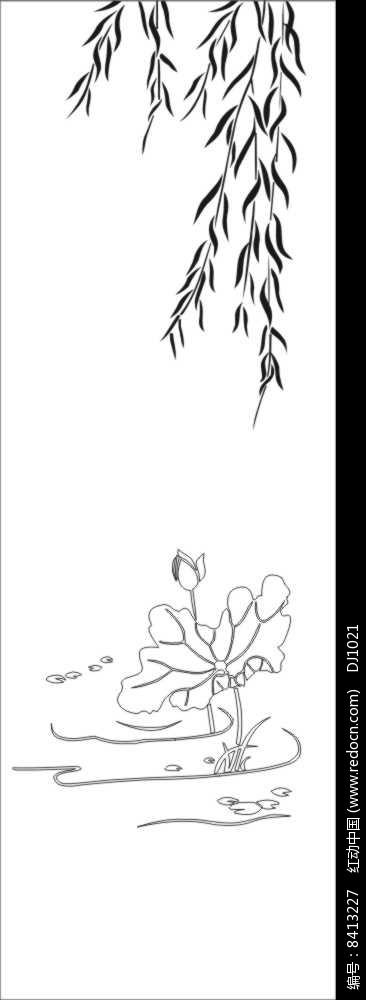 柳叶荷花雕刻图案图片图片